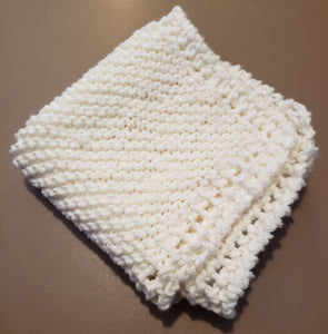 Hand knitted cotton white washcloth