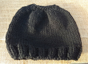 Knit 'Messy Bun' Hat