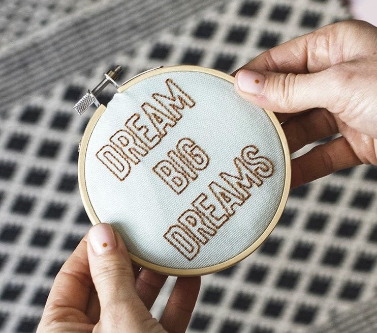 Cotton Clara 'Dream Big Dreams' Hoop Embroidery Kit - The Jute Basket