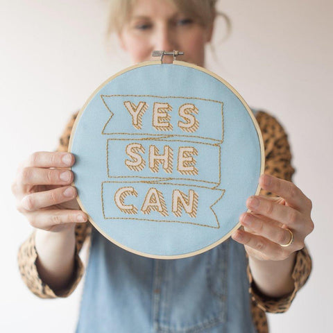 Yes She Can Embroidery Kit - The Jute Basket