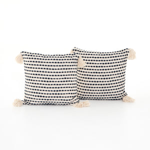 Black and White Dotted Pillow, S/2