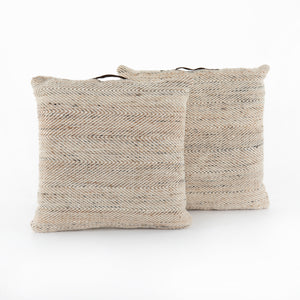 Puffy Beige Wool Knit Pillow with Handles