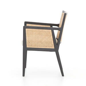 Tony Cane Dining Arm Chair (Brushed Ebony)