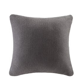 Cable Knit Square Pillow Cover (Charcoal)