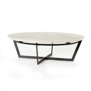 Francesca Round Coffee Table (Sandblasted White Marble)