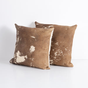 Unique Cowhide Pillows, S/2 (Warm Brown)