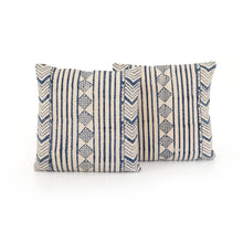 Load image into Gallery viewer, Aged Blue Diamond Square Pillows, S/2