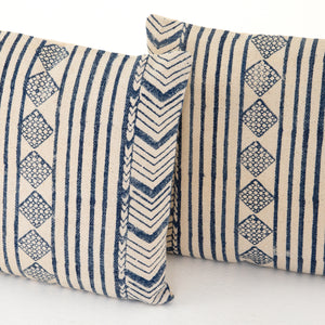 Aged Blue Diamond Square Pillows, S/2
