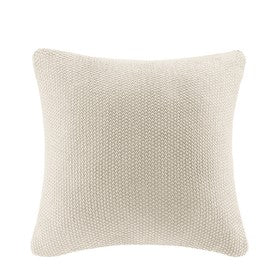 Cable Knit Square Pillow Cover (Ivory)