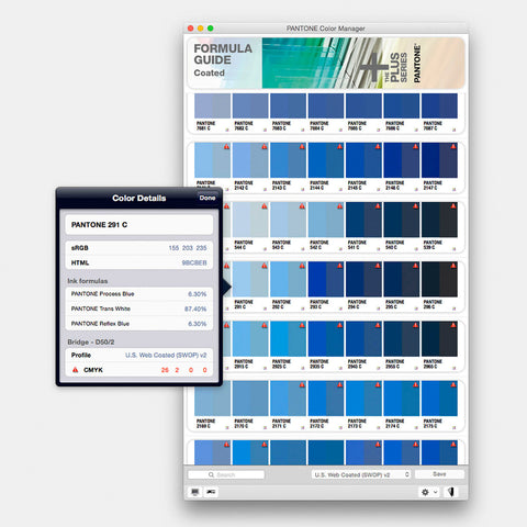 Pantone Colour Software for Adobe Creative Suite, QuarkXpress and Corel.