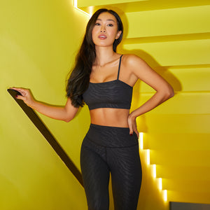 Tiger Embossed One-Shoulder Bra in Jet Black