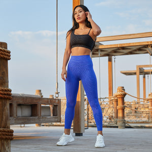 Tiger Embossed Leggings in Classic Blue