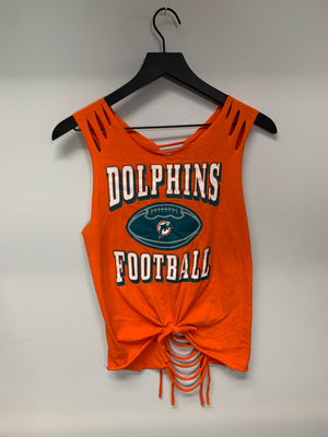 Miami Dolphins Cut Shirt by Sniptease Shredded Game Day Shirt Football Tee Medium