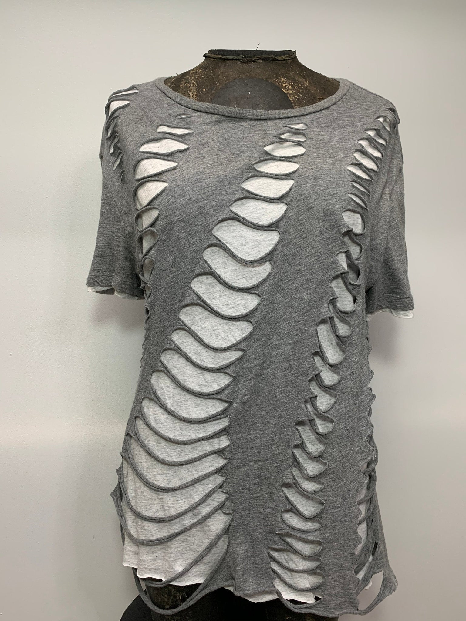 Two Layers of Cut Shirt by SnipTease Size XL Heather Gray and White