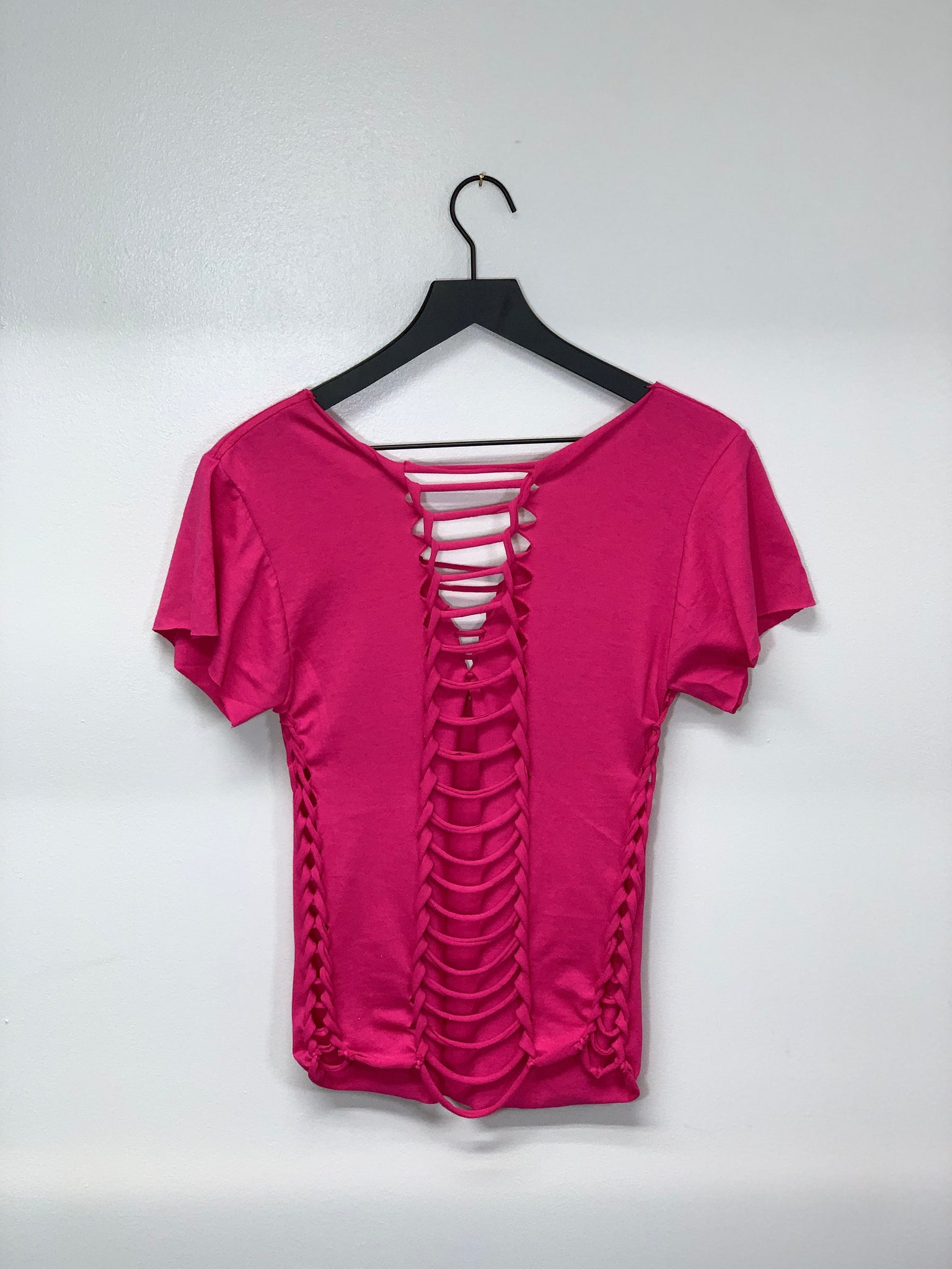 Hot Pink Snipped T-shirt by SnipTease V-neck Cut and Braided