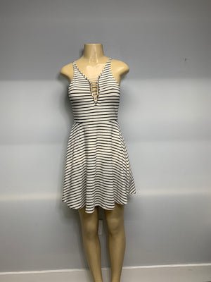 Striped and Sliced Skater Dress Black and White By SnipTease