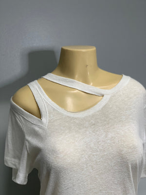 Neat Neckline Snipped White Shirt by Sniptease