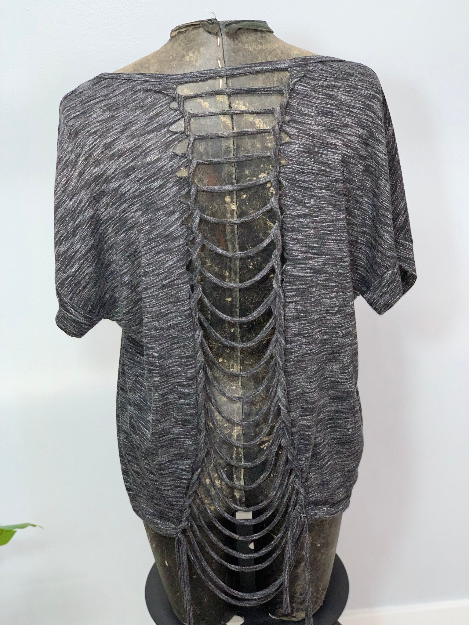 Heather Grey Cut Up T-shirt by Sniptease Braided Shirt Soft and Classy