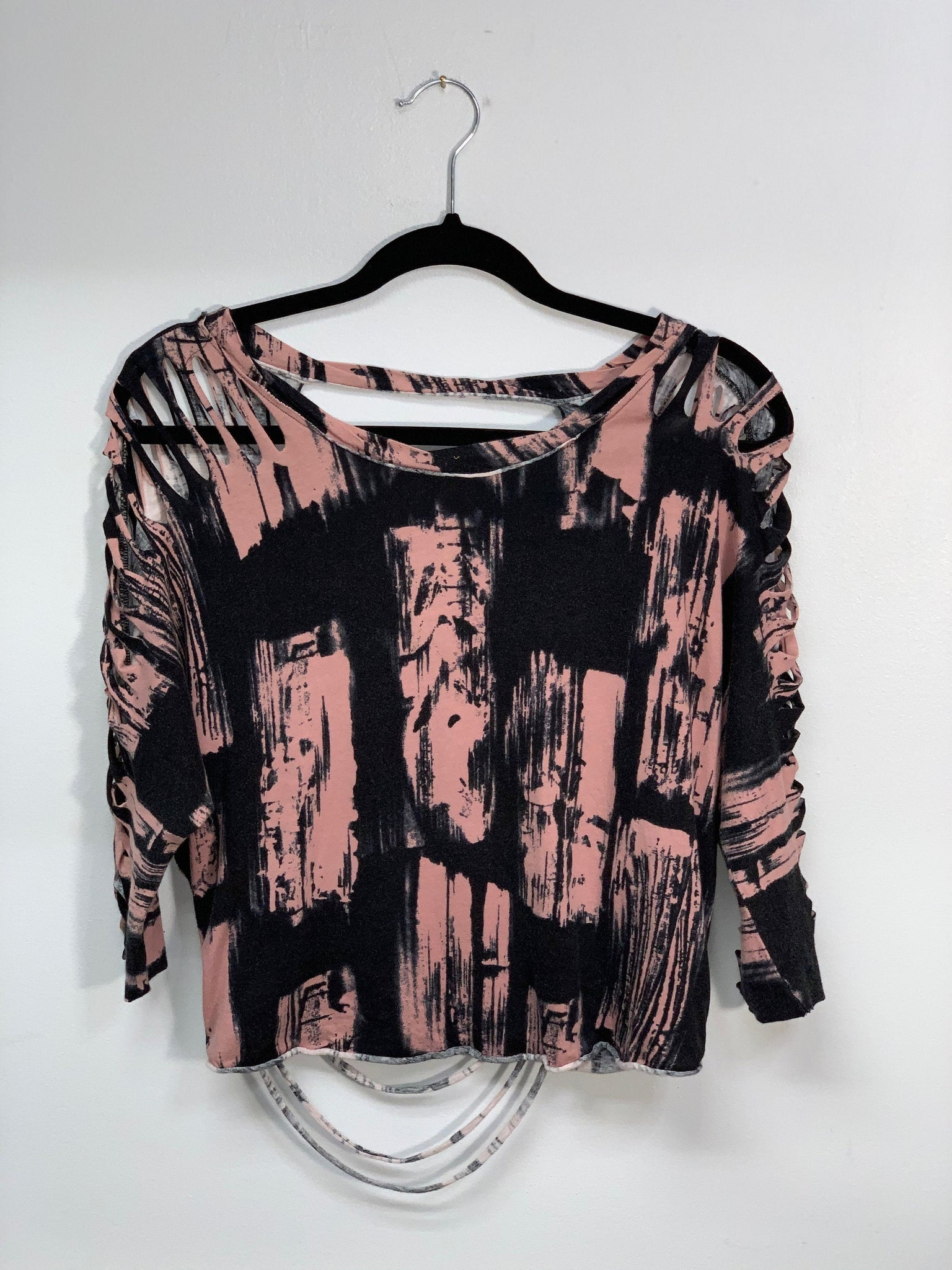 Pink and Black Large Dolman Style Shirt cut by Sniptease