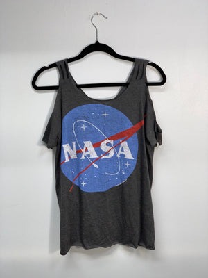 NASA Gray Cold Shoulder Shirt Cut Up by Sniptease Size XL XXL