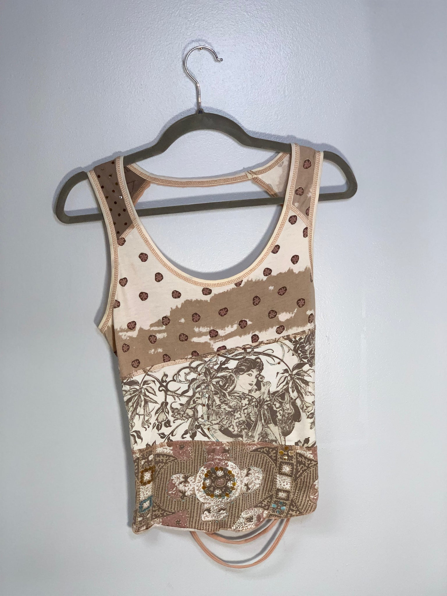 Vintage Print Tank Cut Up by Sniptease Embellished with Beads and Sequins