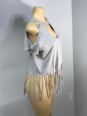 Gray Cold Shoulder Tee with Fringe Cut Shirt by SnipTease