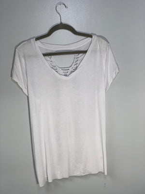 White Scoop/Vneck Tee Shirt Cut by Sniptease