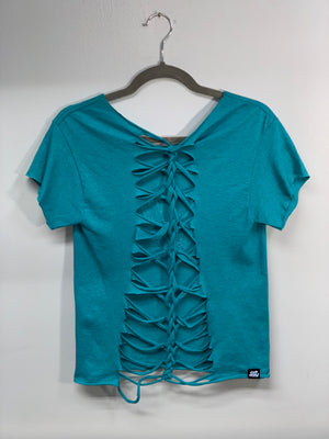 Teal Crystal Shirt Cut Up by Sniptease Size Medium Large