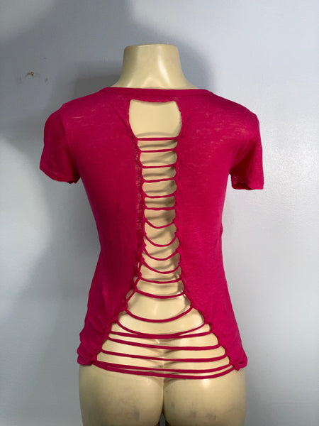 Bright Pink Simple Cut Up Shirt by Sniptease