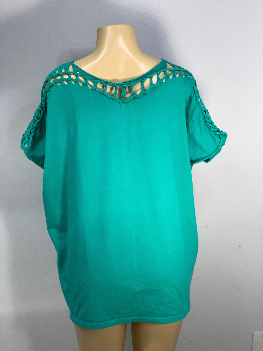 Sassy Shoulder Teal Green Shirt Cut Up by Sniptease Size 2XL