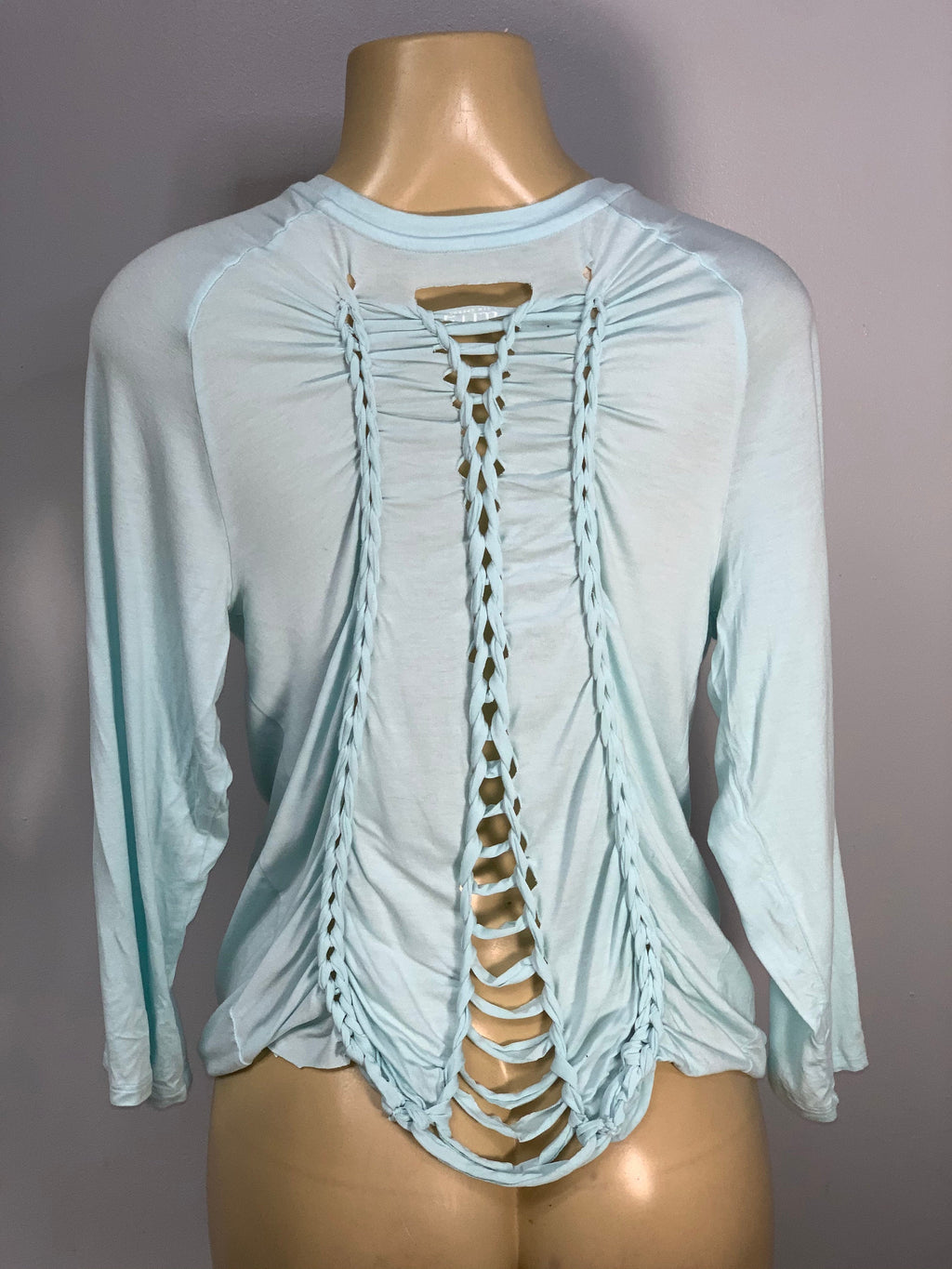 Sky Blue Long Sleeve Cut and Woven by SnipTease