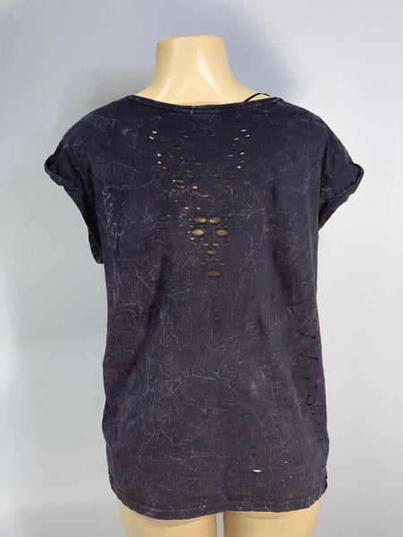 Distressed Black Tee Acid Wash and Distressed Cut Shirt By Sniptease