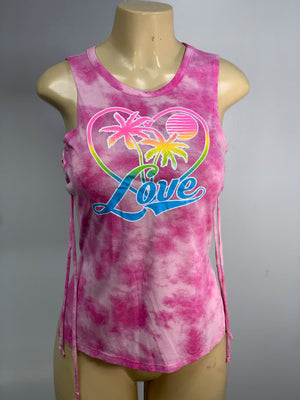 Palm Tree Love Tank Top Cut Shirt by Sniptease SM Medium