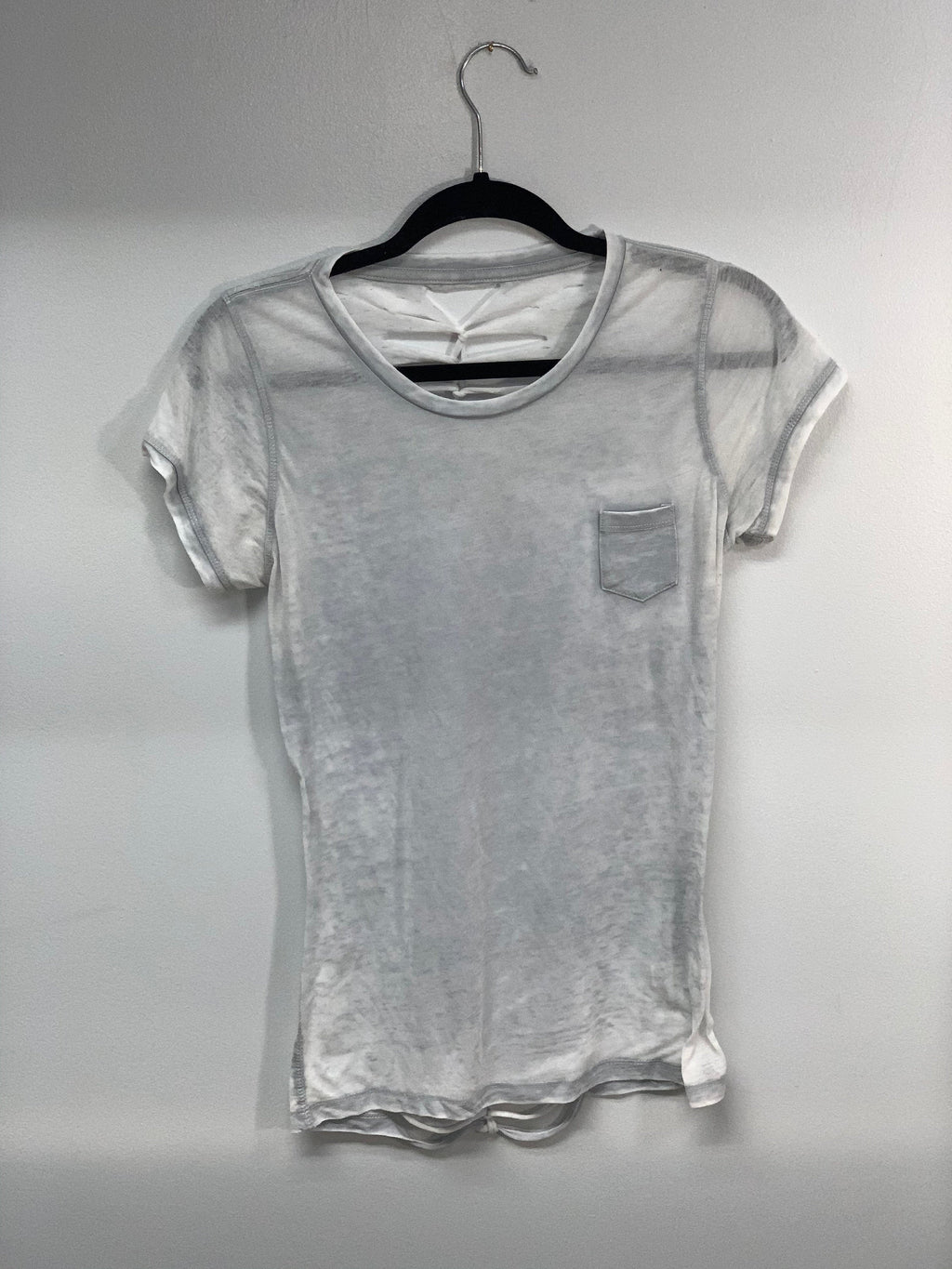 Pale Gray Tshirt Cut up By Sniptease