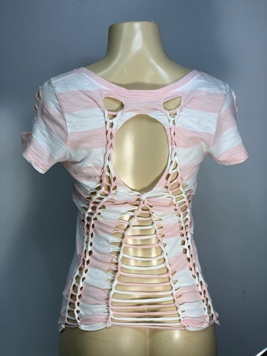 Pink White Striped Pocket Tee Cut Up by Snipteae Size Small Size Medium