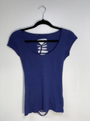 Navy Scoop Neck Tshirt Cut Up Shirt by Sniptease Size Small