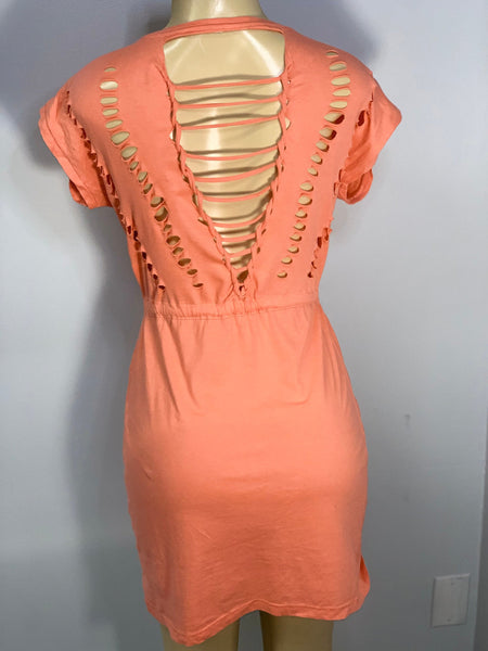 Coral Tie Waist Dress Cut Up by Sniptease