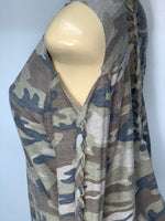 Camo Sweater Cold Shoulder Cut Up by Sniptease Army