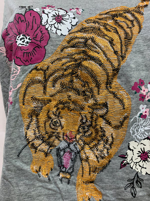 Tiger Crop Top With Embroidery Cut Up by Sniptease