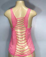 Flowy Pink Little Heart Tank Cut Up by SnipTease