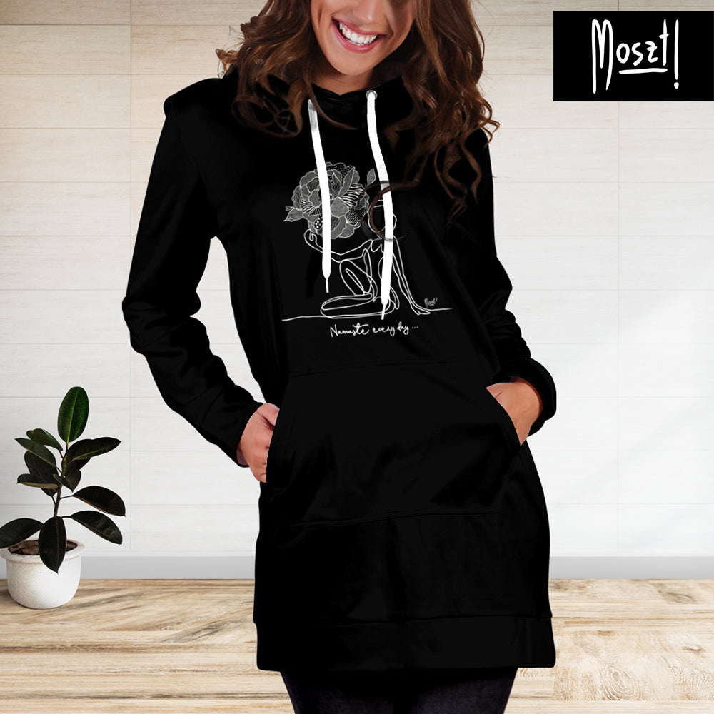 Trendy Namaste Hoodie Dress - Black Hoodie Dress | Moszt Yoga