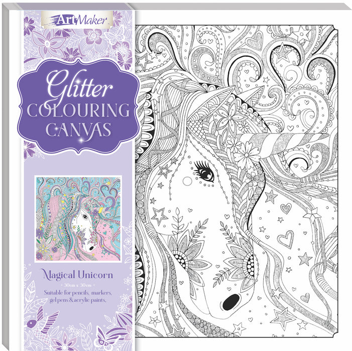 Hinkler Art Maker Glitter Canvas Magical Unicorn