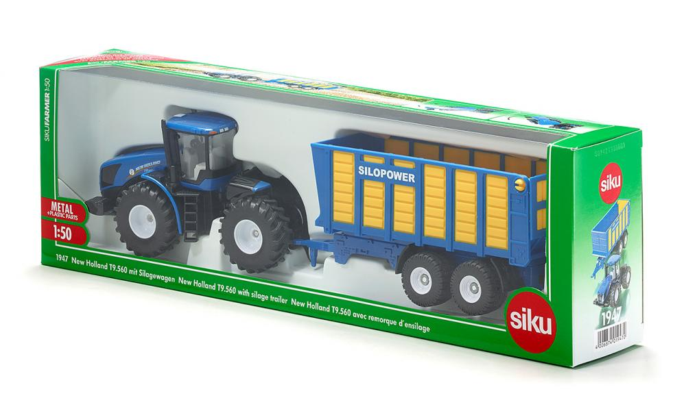SIKU 1947 New Holland Tractor with Silage Trailer