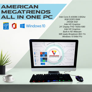 American Megatrends All-In-One PC Intel Core i5-4300M 4th Gen 8GB DDR3 240GB SSD 24""