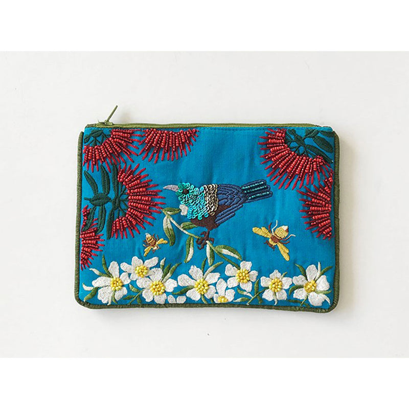 Pouch Tui IN A Garden on Blue
