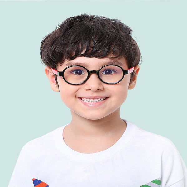 Round Anti Blue Light Kids Glasses Silicone Frame Eyeglasses - BERLINS
