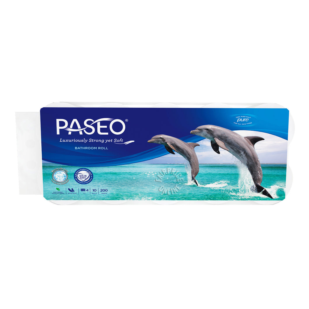 Paseo Dolphin Bathroom 200 Sheets x 10 Rolls (4 Ply)