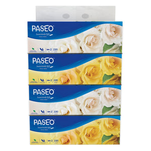Paseo Orchid Soft Pack Facial Tissue 220 Sheets x 4 Packs (2 Ply)