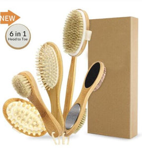 Natural bristle bath brush package, face and body, exfoliating and revitalizing