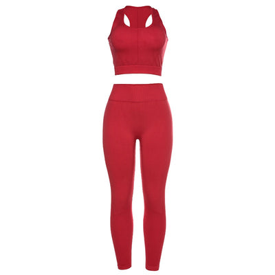 Sexy Red Seamless Yoga Set